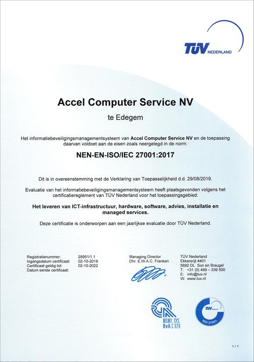 Accel ISO 27001 gecertificeerd